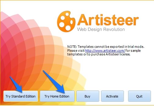 Artisteer Software trial version