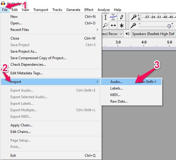 audio editing step 1