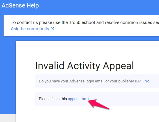 Adsense Invalid Activity Appeal Step 2