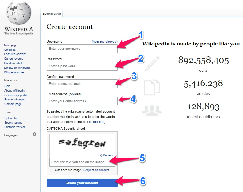 create wikipedia account