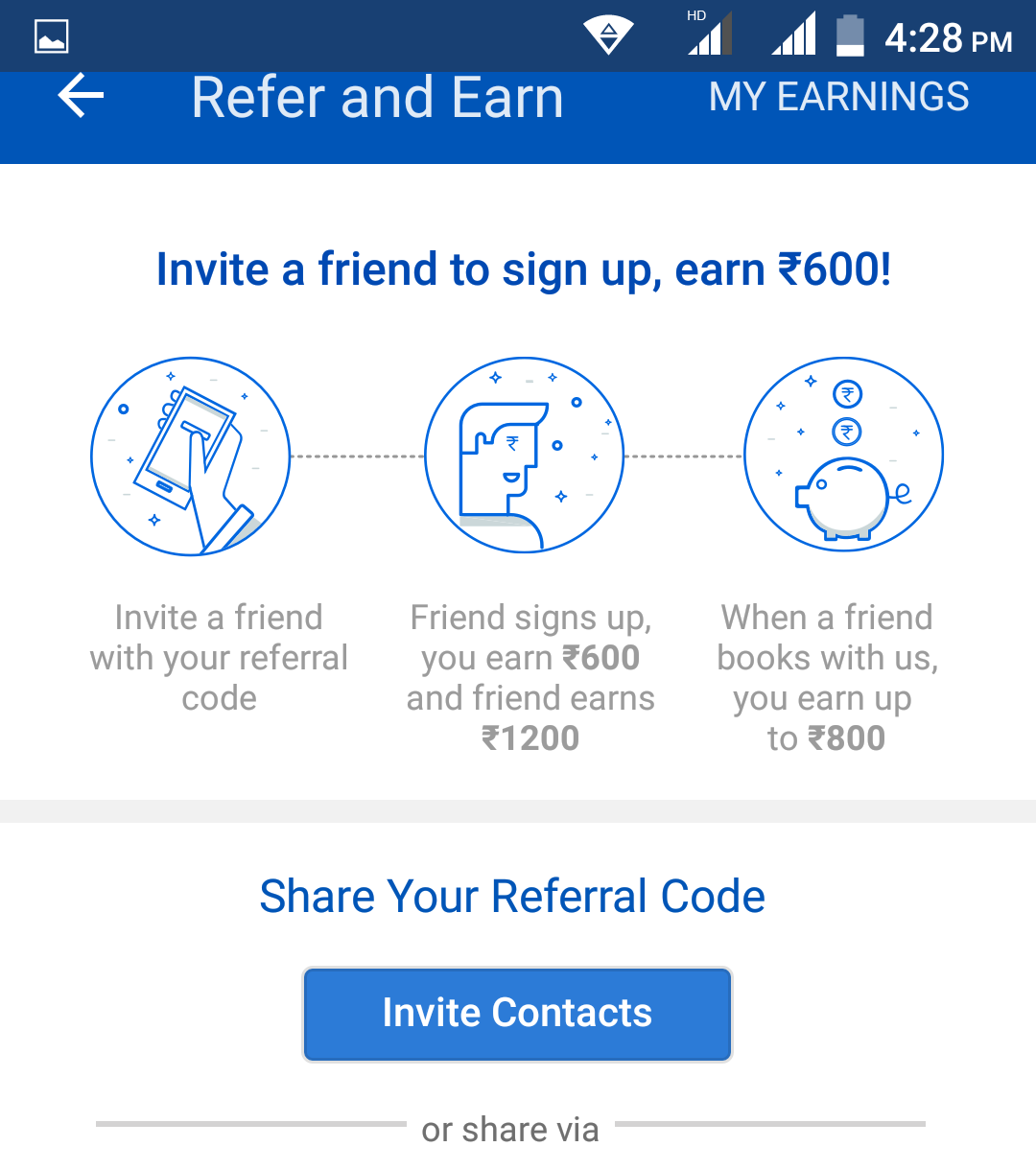 refer and earn 600 per refer