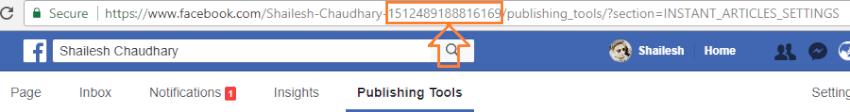 copy facebook page app id