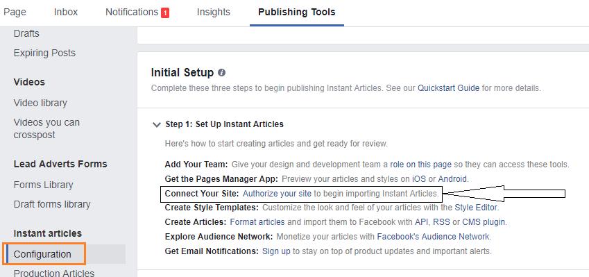 instant articles publishing tools