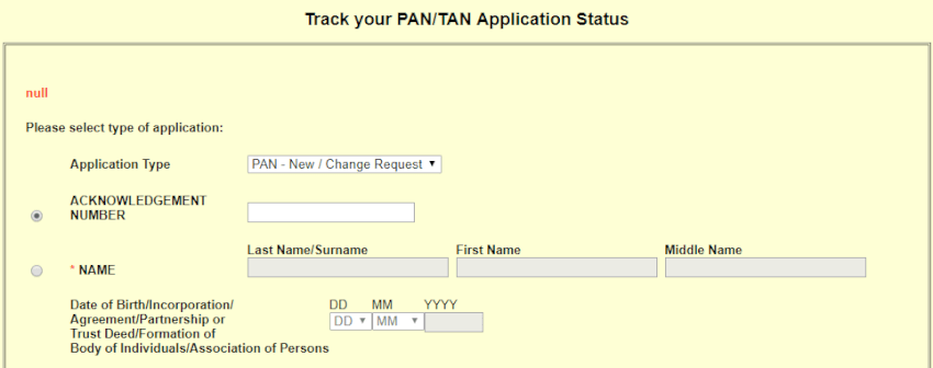 pan card Status form