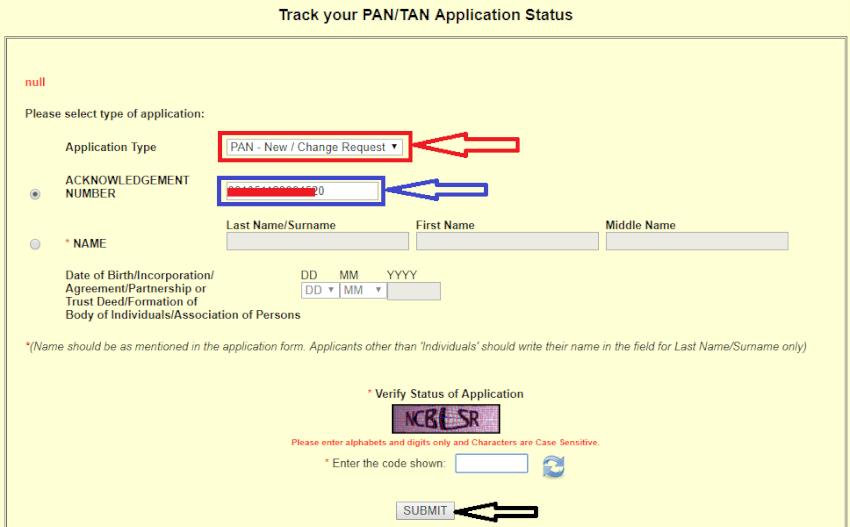 track Pan card status