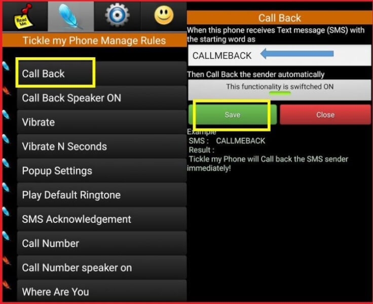 Setup Call Back Feature
