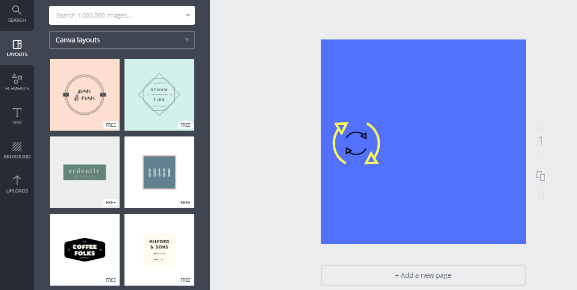 canva dashboard and layout