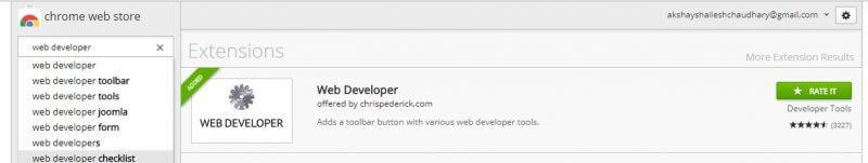 web developer chrome