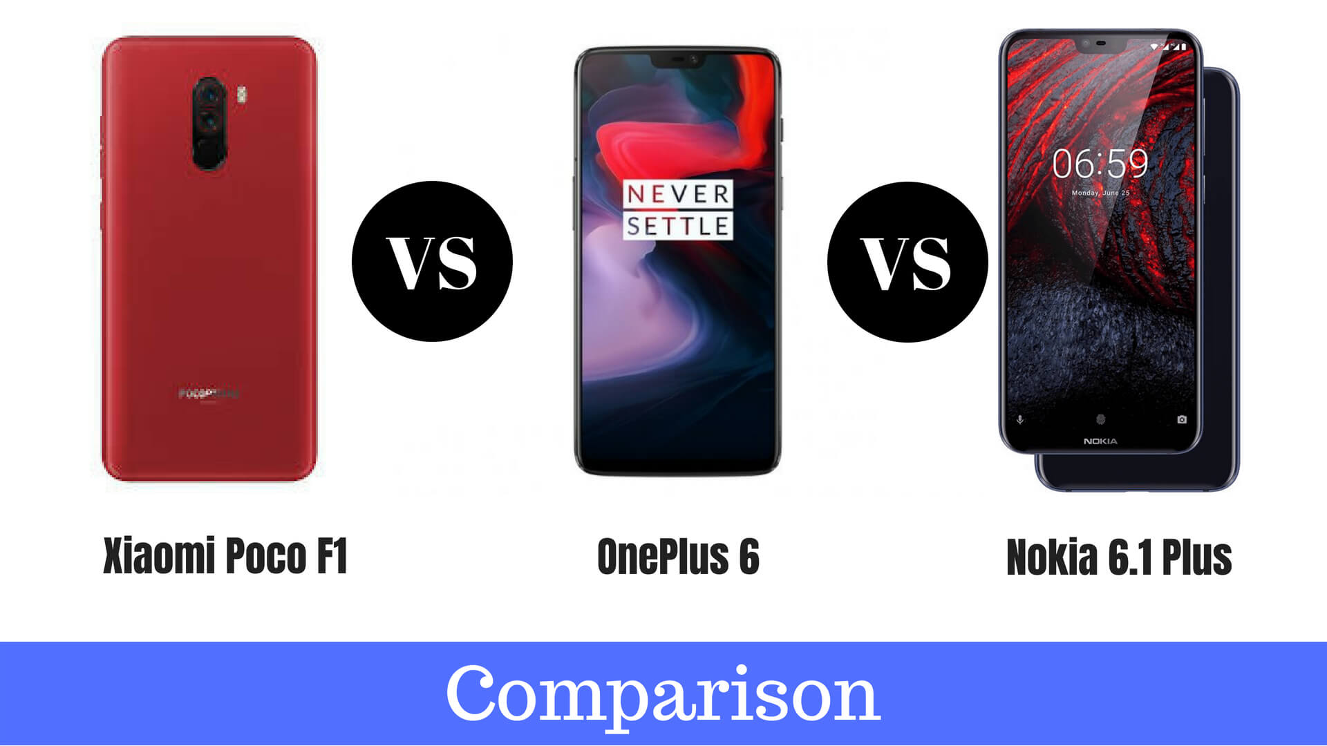 Xiaomi Poco F1 Vs Nokia 6.1 Plus Vs OnePlus 6 Full Comparison in Hindi