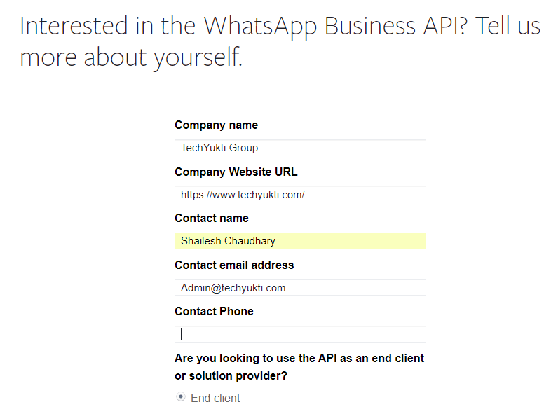 WhastApp API for business