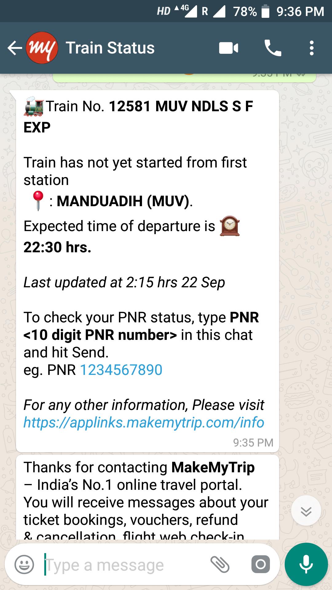 whatsapp pnr status