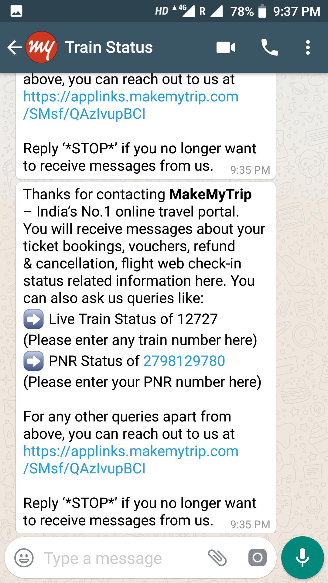 whatsapp train status
