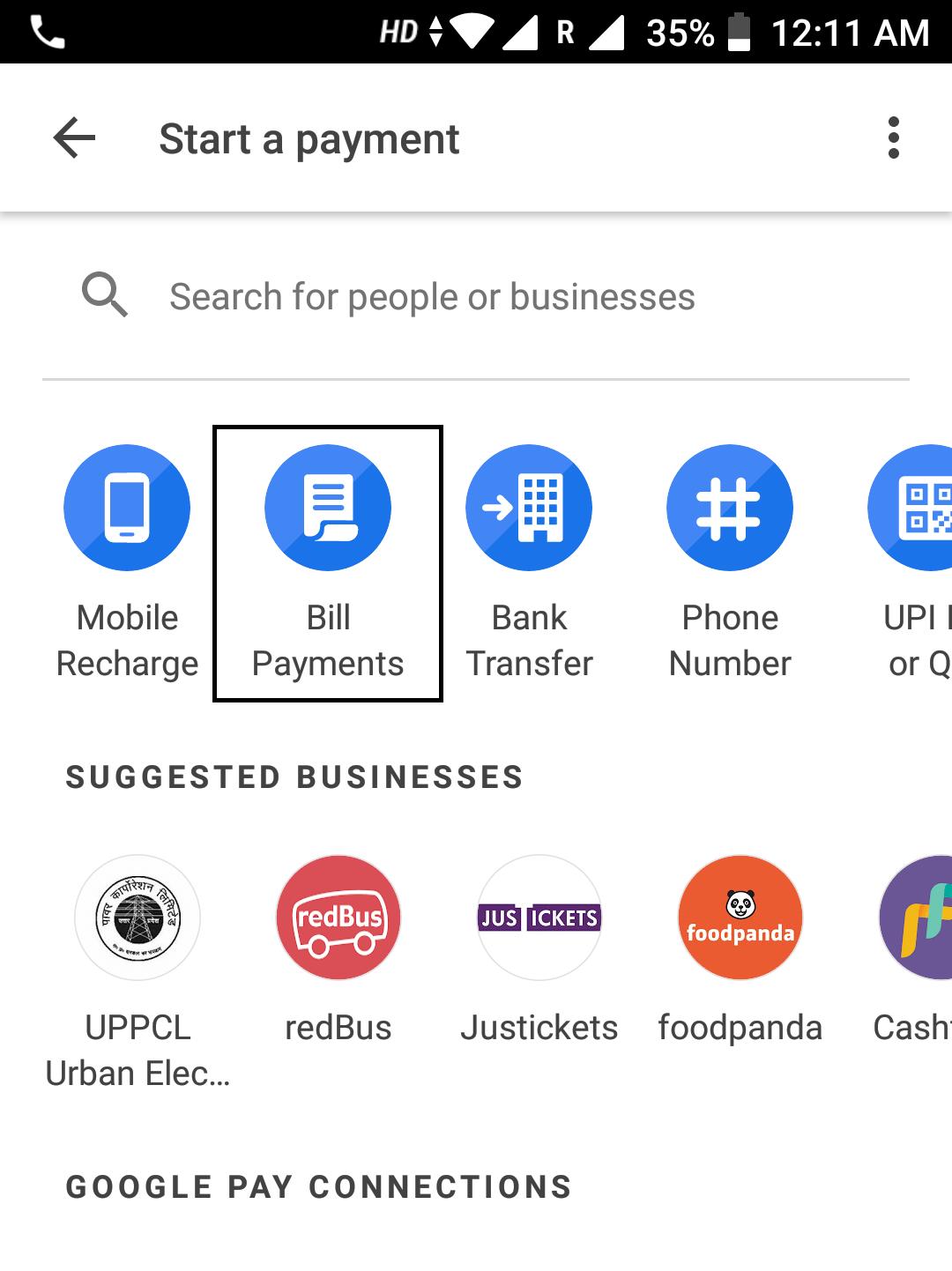 google pay bill payment