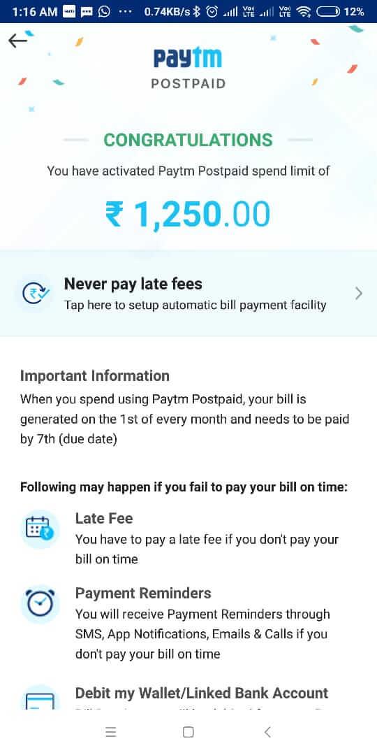 Paytm postpaid balance