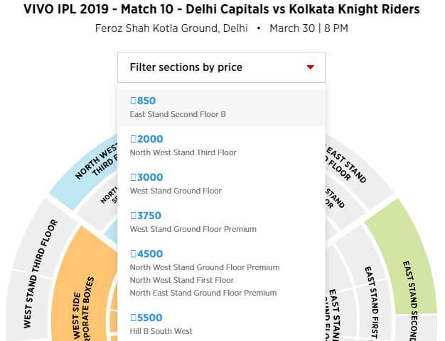 ipl match ticket price