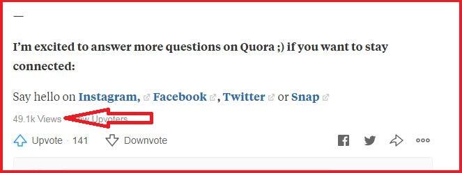 post views on quora